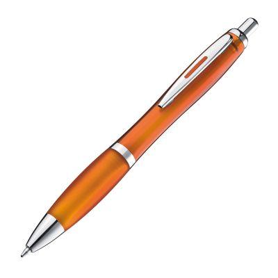 Transparenter Kugelschreiber mit Metallclip orange