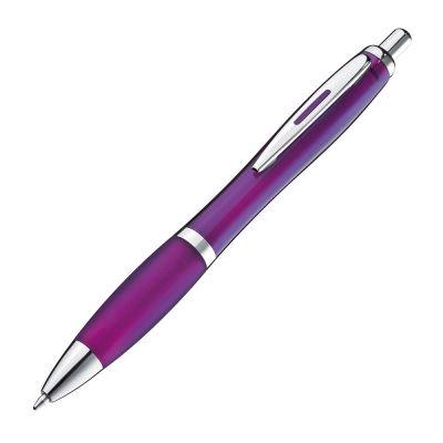 Transparenter Kugelschreiber mit Metallclip lila