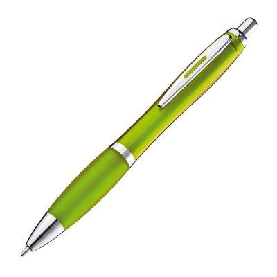 Transparenter Kugelschreiber mit Metallclip grün