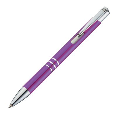 Kugelschreiber aus Metall mit 3 Zierringen lila