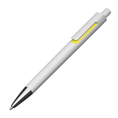 Kunststoffkugelschreiber mit farbigen Applikationen und blau schreibender Großraummine gelb