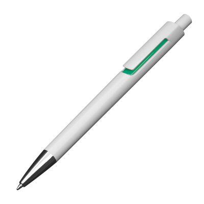 Kunststoffkugelschreiber mit farbigen Applikationen und blau schreibender Großraummine grün