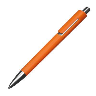 Kunststoffkugelschreiber mit silbernen Applikationen und blau schreibender Großraummine orange