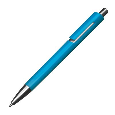 Kunststoffkugelschreiber mit silbernen Applikationen und blau schreibender Großraummine hellblau