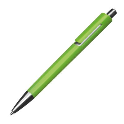 Kunststoffkugelschreiber mit silbernen Applikationen und blau schreibender Großraummine grün