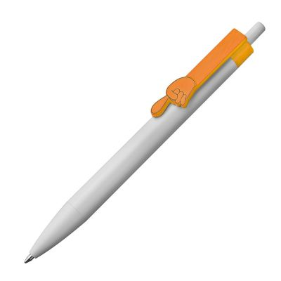 Kugelschreiber aus Kunststoff mit Clip Fingerzeig orange