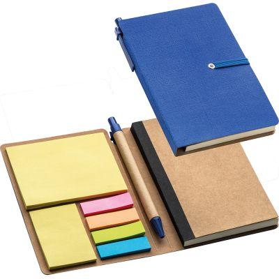 Notizbuch mit liniertem Block und diversen Haftmarkern blau