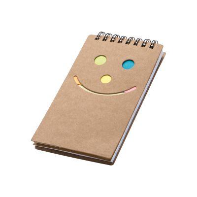 Notizblock mit Spiralbindung und einem Smile Gesicht braun