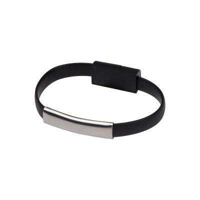 USB Armband aus Silikon mit 2in1 Stecker schwarz