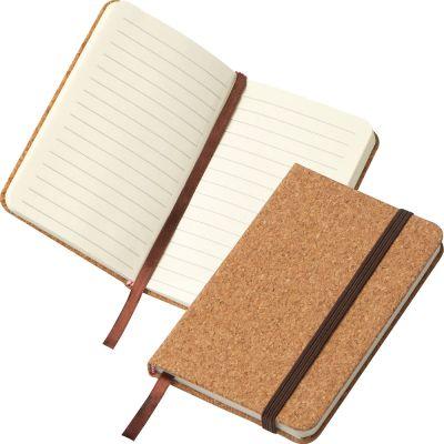 A6 Notizbuch mit Korkeinband und linierten Seiten beige