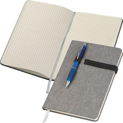 A5 Notizbuch mit karierten Seiten, Kugelschreiberschlaufe, Lesezeichen und Gummibandverschluss grau
