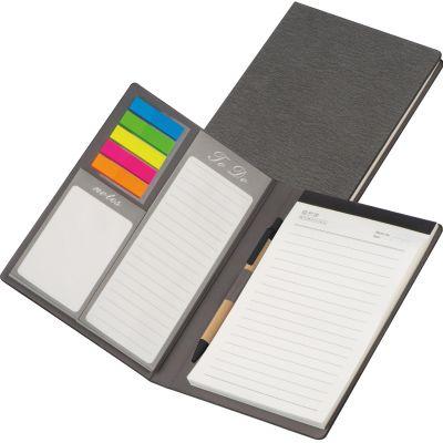 Schreibmappe mit PU Einband, Notizen, To Do Liste und Haftmarkern grau