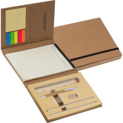 Schreibmappe mit Pappeinband, Lineal, Schreibblock und Haftmarkern braun