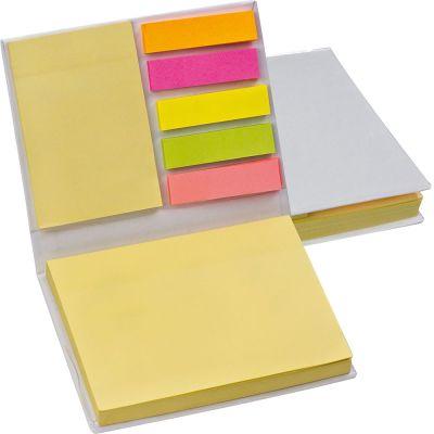 Haftmarker- und Haftnotizzettel im weißen Hardcover weiß