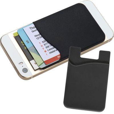 Kartenhalter aus Silikon zum Aufkleben auf das Smartphone schwarz