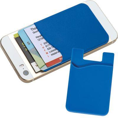 Kartenhalter aus Silikon zum Aufkleben auf das Smartphone blau