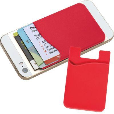 Kartenhalter aus Silikon zum Aufkleben auf das Smartphone rot