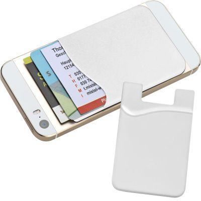 Kartenhalter aus Silikon zum Aufkleben auf das Smartphone weiß