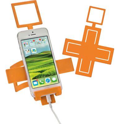 Handyhalter aus biegsamen Metall mit Silikonüberzug orange