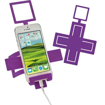 Handyhalter aus biegsamen Metall mit Silikonüberzug lila