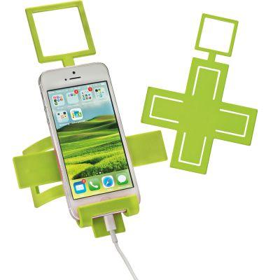 Handyhalter aus biegsamen Metall mit Silikonüberzug grün
