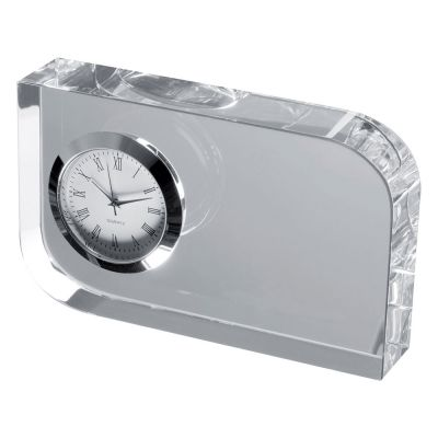 Glasblock mit Uhr transparent
