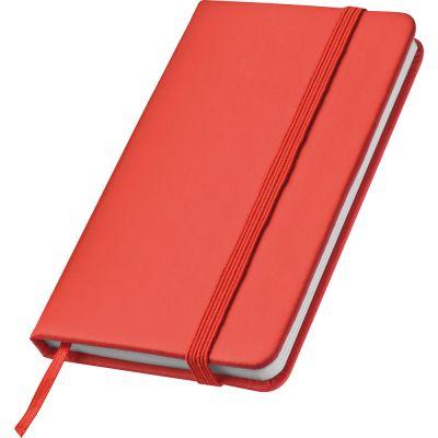 Notizbuch mit Lesebändchen und Gummibandverschluss rot