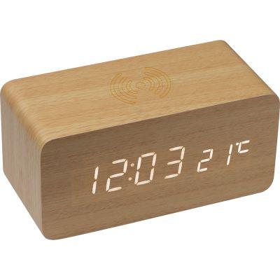 Schreibtischuhr mit intergriertem Wireless Charger beige