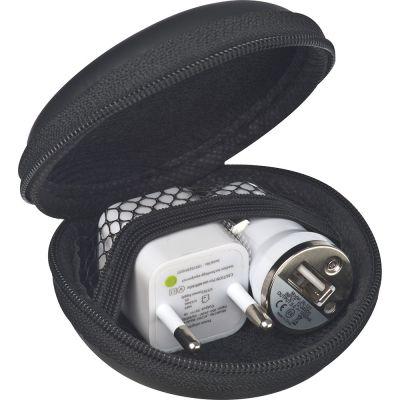 Travel Set mit EU Stecker und USB-Ladegerät schwarz