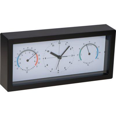 Schreibtischuhr mit Hygro- und Thermometer schwarz