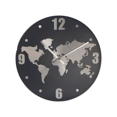 Wanduhr aus Aluminium mit Weltkarte in Hintergrund AI0010400