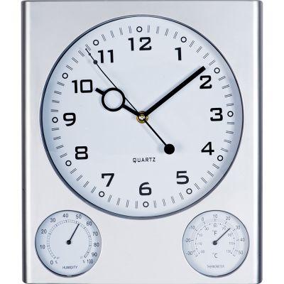 Wanduhr mit Hygrometer und Thermometer aus Kunststoff grau