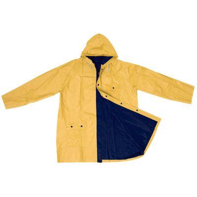 Zweifarbige phthalatfreie Wende-Regenjacke aus PVC blau-gelb