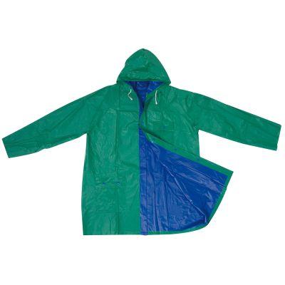 Zweifarbige phthalatfreie Wende-Regenjacke aus PVC blau-grün