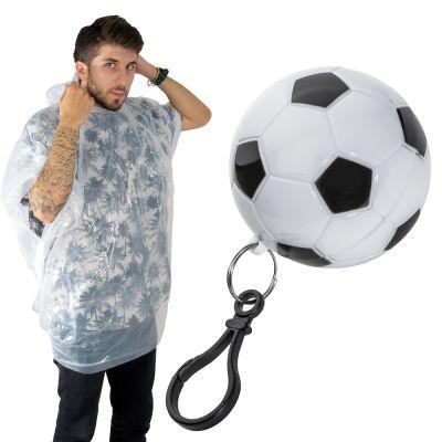 Regenponcho in einer Kunststoffkugel in Fußballoptik bunt