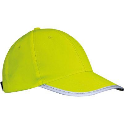 AZO-freie 6 Panel Baseballcap für Erwachsene aus Polyester mit reflektierender Borte gelb