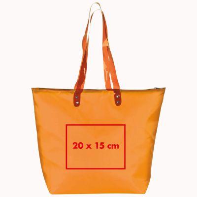 Strandtasche aus Polyester mit transparenten Henkeln
