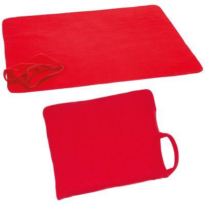 Fleecedecke mit Reißverschluss, als Kissen verwendbar rot