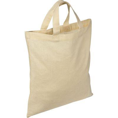 Oeko-Tex® STANDARD 100 Baumwolltasche mit kurzen Henkeln weiß