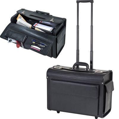 Akten-/Pilotenkoffer-Trolley aus Kunstleder schwarz
