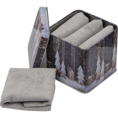 Handtücher aus Mikrofaser in einer Metallbox grau