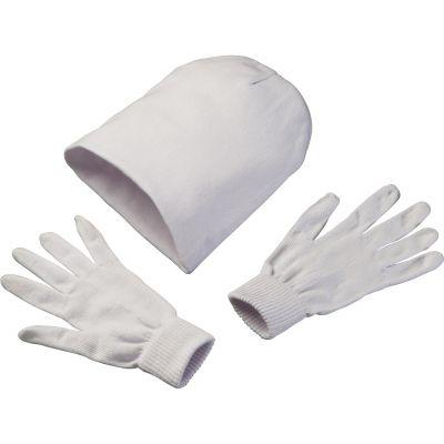 Set aus Handschuhen und Mütze weiß