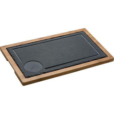 Servierbrett aus bambus mit Schieferplatte schwarz