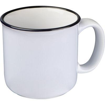 Tasse aus Keramik mit schwarzem Rand weiß