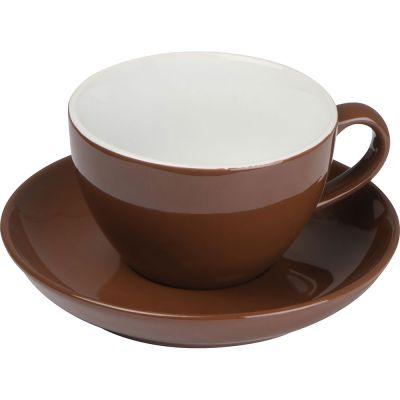 Tasse aus Keramik mit Untersetzer, 220 ml braun