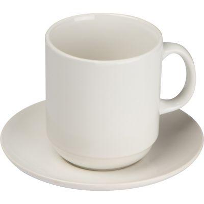 Set aus weißer Kaffeetasse mit Untersetzer, 300 ml weiß