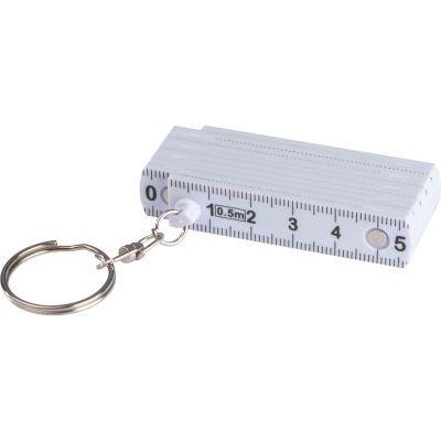 Schlüsselanhänger mit ausklappbarem Zollstock weiß