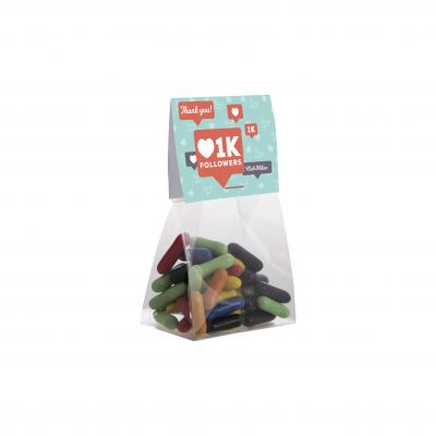 Mini tüte 50 g mit Topkarte transparent incl. vollfarbigem Druck(PE0000500)