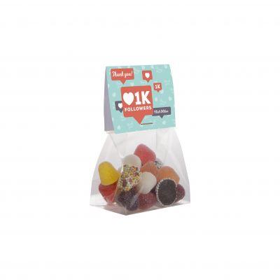 Mini tüte 50 g mit Topkarte transparent incl. vollfarbigem Druck(PE0000800)