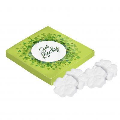 Viereckige Dose Kleeblatt Minz weiß incl. vollfarbigem Druck(PE0007100)